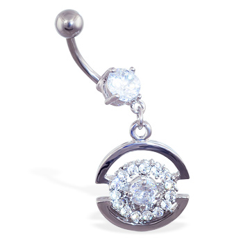 Navel ring with dangling jeweled circle