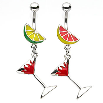 Fruit navel ring with dangling flaming martini glass