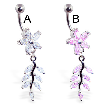 Flower belly ring with dangling jeweled vine