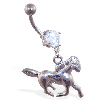 Navel ring with dangling steel horse
