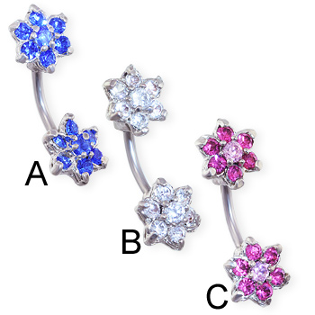 Navel Ring with Double Jeweled Flower Ends