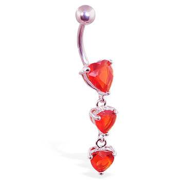 Belly ring with triple red heart dangle