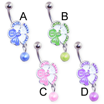 Jeweled flower belly ring with dangling pearl