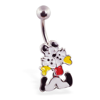 Puppy dog with bone belly ring