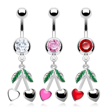 Belly ring with dangling cherry hearts