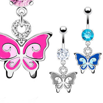 Jeweled navel ring with dangling colored butterfly
