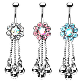 Jeweled flower navel ring with dangling chains and balls