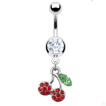 Navel ring with dangling pave jeweled cherries