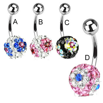 Navel ring with jeweled paved multi-color flower balls