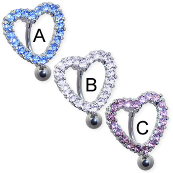 Reversed jeweled heart belly ring