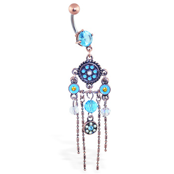 Aqua Vintage Belly Ring With Dangling Vintage Chandelier