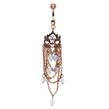 Vintage belly ring with chandelier dangle and opal beads