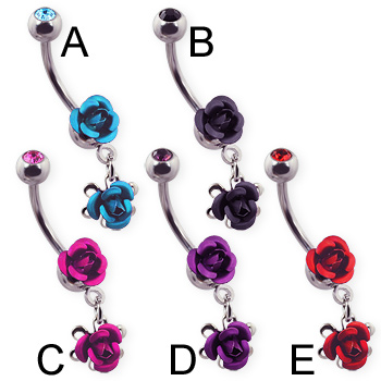 Metal rose belly ring with dangling rose and jeweled top ball