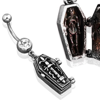 Navel Ring with Dangling Openable Coffin