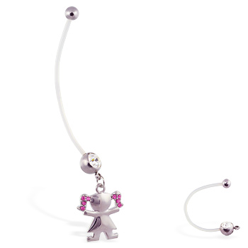 Super long flexible bioplast belly ring with dangling jeweled girl