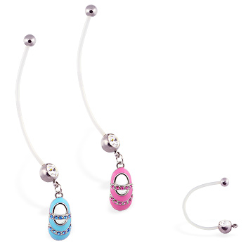 Super long flexible bioplast belly ring with dangling jeweled baby shoe