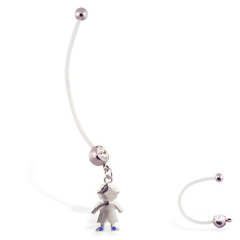 Super long flexible bioplast belly ring with dangling jeweled boy