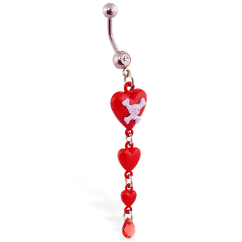 Navel ring with dangling red hearts and skull
