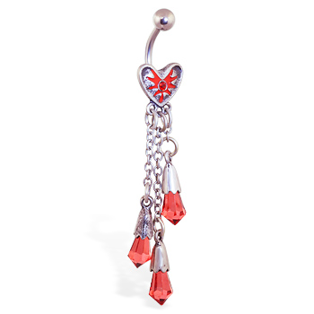 Bloody heart navel ring with dangling chains and red crystals