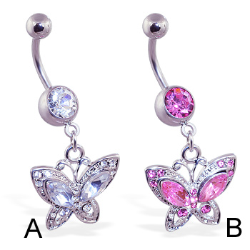Belly ring with dangling jeweled butterfly