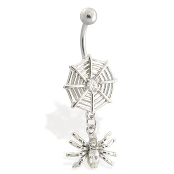 Spider web belly ring with dangling jeweled spider