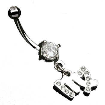 Navel ring with dangling jeweled virgo sign