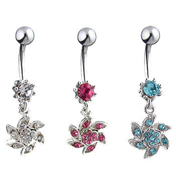 Jeweled navel ring with dangling jeweled swirl flower