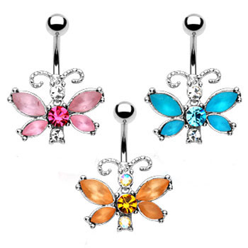 Fancy Frosted Butterfly Belly Ring