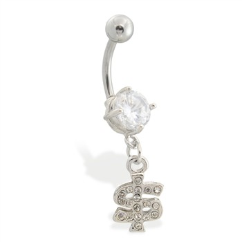 Navel ring with dangling jeweled dollar sign