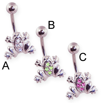 Pave jeweled frog belly ring