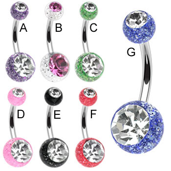 Navel ring with jeweled acrylic glitter balls