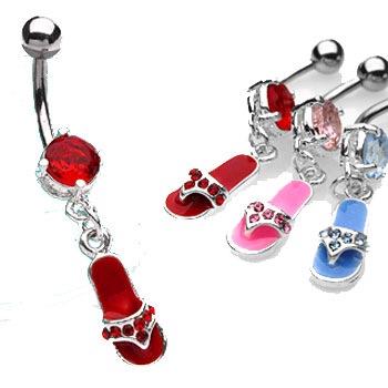 Belly ring with dangling jeweled flip flop