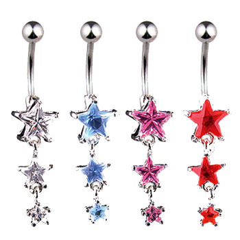 Jeweled star navel ring with dangling jeweled stars