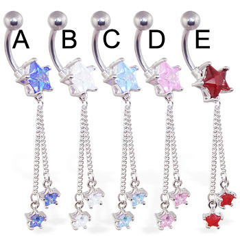 Jeweled star navel ring with dangling chains and stars