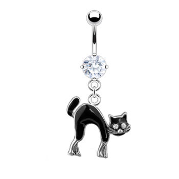 Belly Ring with Dangling Scared Black Cat