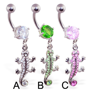 Navel ring with dangling pave jeweled lizard