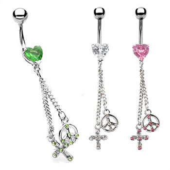 Jeweled heart belly ring with dangling jeweled peace sign and cross