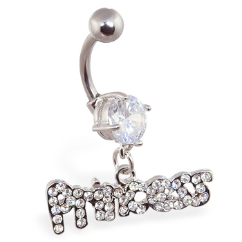 "Navel ring with dangling ""Princess"""