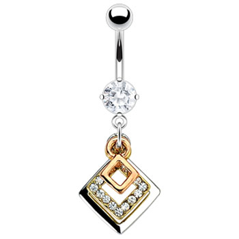 Navel Ring with Dangling Jeweled And Gold Tone Squares