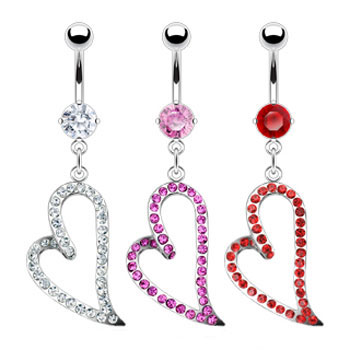 Belly ring with large danging jeweled heart