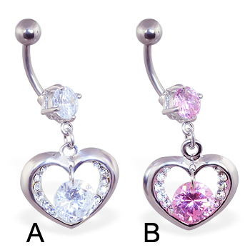 Belly ring with dangling heart and gem