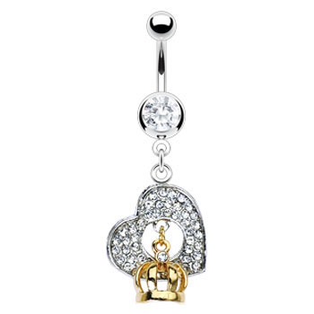 Navel ring with dangling heart and Gold Tone crown
