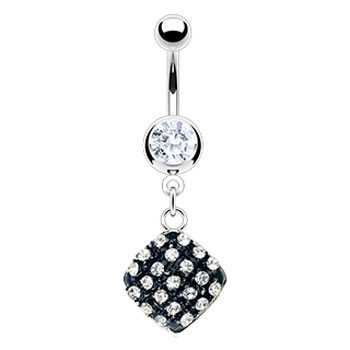 Navel ring with dangling epoxy jeweled square