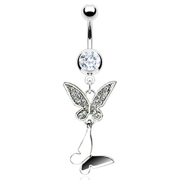 Belly ring with dangling butterflies