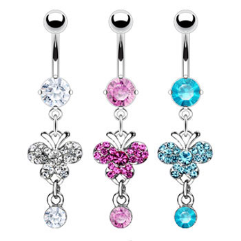 Belly ring with dangling big gem butterfly