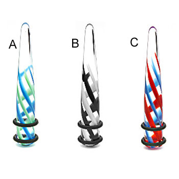 UV transparent taper with swirl pyrex design, 0 ga