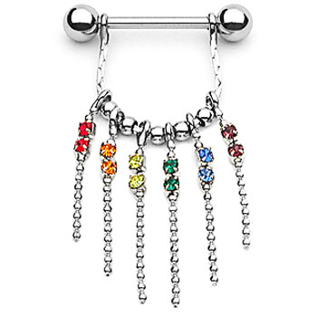 Nipple ring with dangling chains with rainbow gems, 14 ga