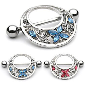 Pair Of Fancy Jeweled Butterfly And Flower Nipple Shields, 14 Ga