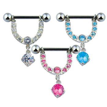 Nipple bar with dangling jeweled horseshoe and gem, 14 ga
