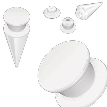 2-In-1 Interchangeable White Acrylic Screw Fit Taper